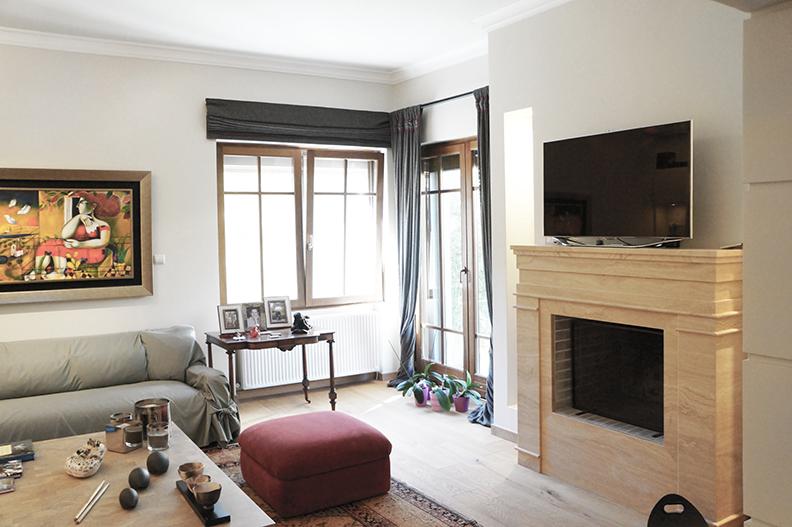 Ανακαίνιση μονοκατοικίας στην Κηφισιά, ανακαίνιση καθιστικού, μαρμάρινο τζάκι