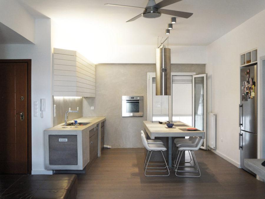 ανακαίνιση κουζίνας & μπάνιου, Ανακαίνιση διαμερίσματος Αμπελόκηποι, κουζίνα, πατητή τσιμεντοκονία, νησίδα κουζίνα 2