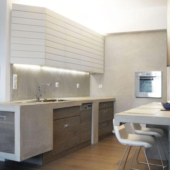 ανακαίνιση κουζίνας & μπάνιου, Ανακαίνιση διαμερίσματος Αμπελόκηποι, κουζίνα, πατητή τσιμεντοκονία