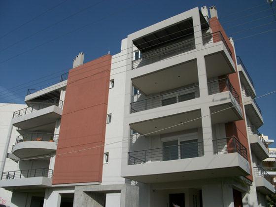 μελέτη, επίβλεψη και κατασκευή πολυκατοικίας, Σπάτα, όψεις, μελέτη κατασκευή, πρόσοψη